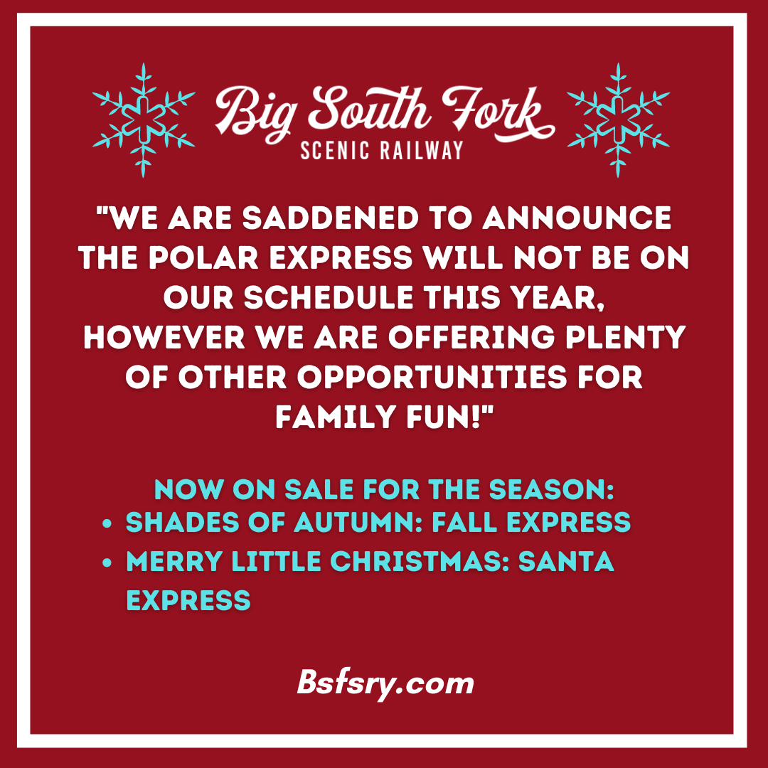 _We are saddened to announce we will not have Polar event this year, however we will be providing alternative excursions._ The name for our Christmas train is _Merry little Christmas_ Santa Express_